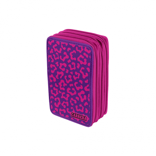 Astuccio 3 Zip Faces Girl Fucsia - Fronte