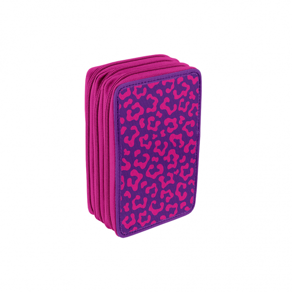 Astuccio 3 Zip Faces Girl Fucsia - Retro