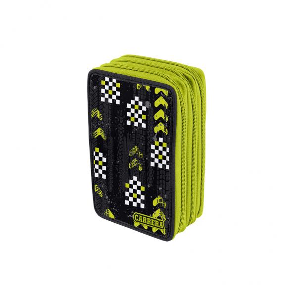 Astuccio 3 Zip Cars Boy Verde - Fronte