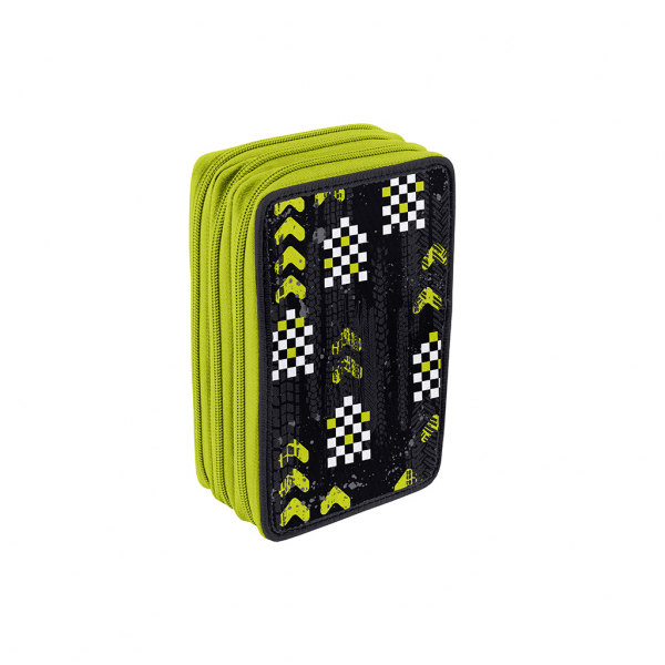 Astuccio 3 Zip Cars Boy Verde - Retro