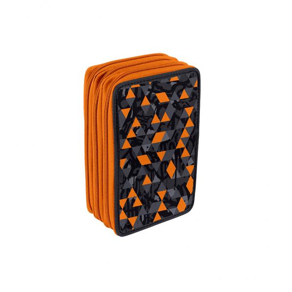 Astuccio 3 Zip Urban Boy Arancione - Retro