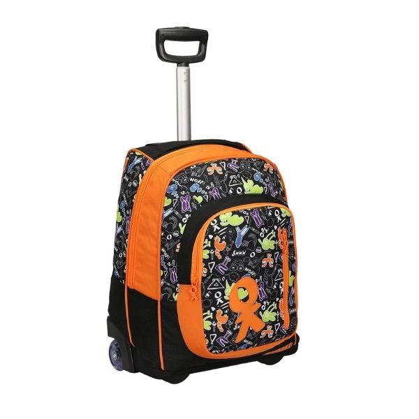 Trolley scuola Doodle arancione