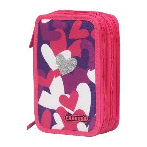 Astuccio 3 Zip Heart girl fucsia