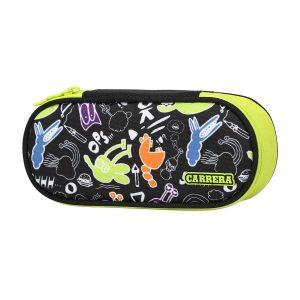 Astuccio ovale Doodle boy nero/verde