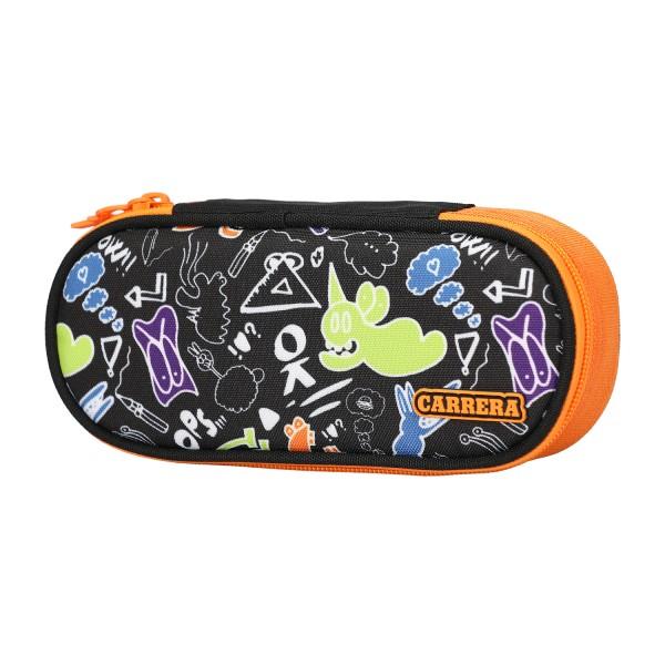 Astuccio ovale Doodle boy nero/arancione